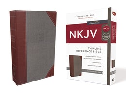 NKJV, Thinline Reference Bible, Cloth over Board, Gray/Red, Red Letter Edition, Comfort Print