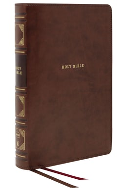 NKJV, Reference Bible, Classic Verse-by-Verse, Center-Column, Leathersoft, Brown, Thumb Indexed, Red Letter Edition, Comfort Print