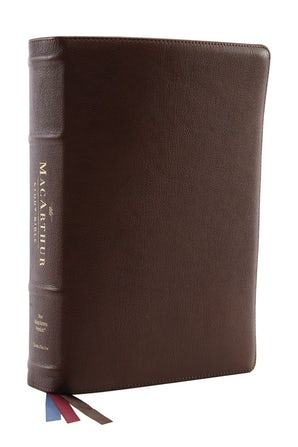 The NKJV, MacArthur Study Bible, 2nd Edition, Premium Goatskin Leather, Brown, Premier Collection, Comfort Print book image
