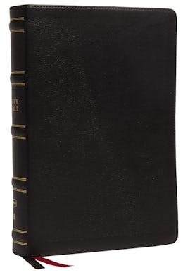 NKJV, Single-Column Wide-Margin Reference Bible, Genuine Leather, Black, Red Letter, Comfort Print