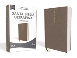 NBLA Santa Biblia Ultrafina, Letra Grande, Tamaño Manual, Tapa Dura/Tela, Gris, Edición Letra Roja