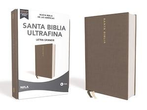 NBLA Santa Biblia Ultrafina, Letra Grande, Tamaño Manual, Tapa Dura/Tela, Gris, Edición Letra Roja book image