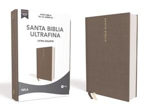NBLA Santa Biblia Ultrafina, Letra Gigante, Tapa dura/Tela, Gris, Edición Letra Roja book image