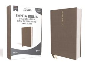 NBLA Santa Biblia, Una Columna con Referencias, Letra Grande, Tapa Dura/Tela, Gris, Edición Letra Roja book image