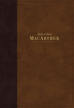 NBLA Biblia de Estudio MacArthur, Leathersoft, Café, Interior a dos colores, con Índice