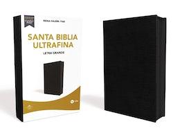 Reina Valera 1960 Santa Biblia Ultrafina Letra Grande, Piel Fabricada, Negro, con Cierre, Interior a dos colores